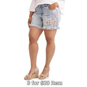 Pants - Plus Size | Pastel Embroidered Denim Short